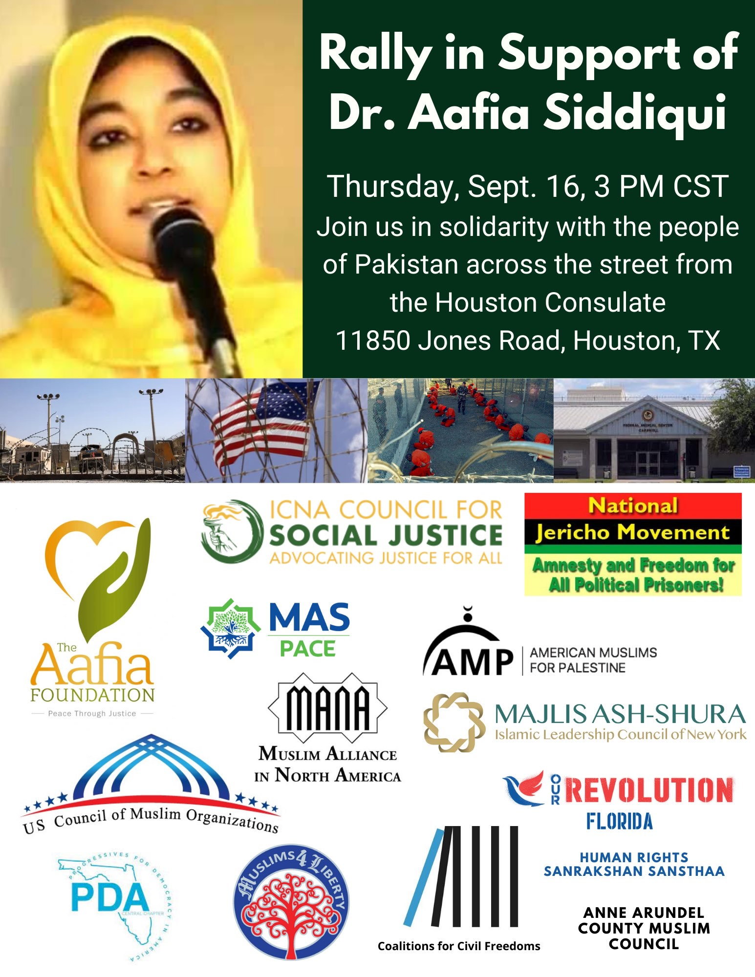 [Sep 16, 2021; Pakistan Consulate; Houston, TX] Free Aafia Mobilization