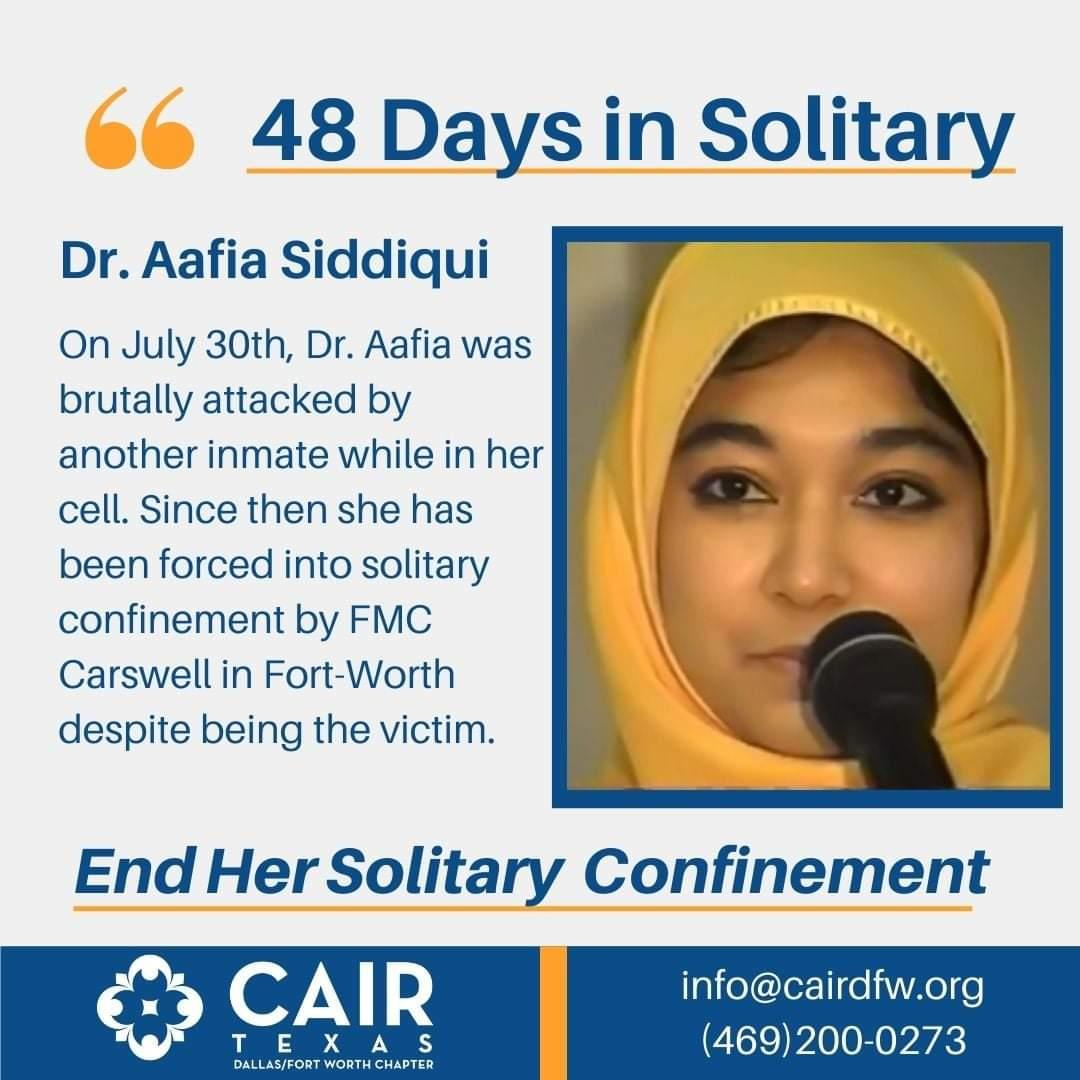 [Sep 17, 2021; CAIR] Dr. Aafia Siddiqui in Solitary Confinement