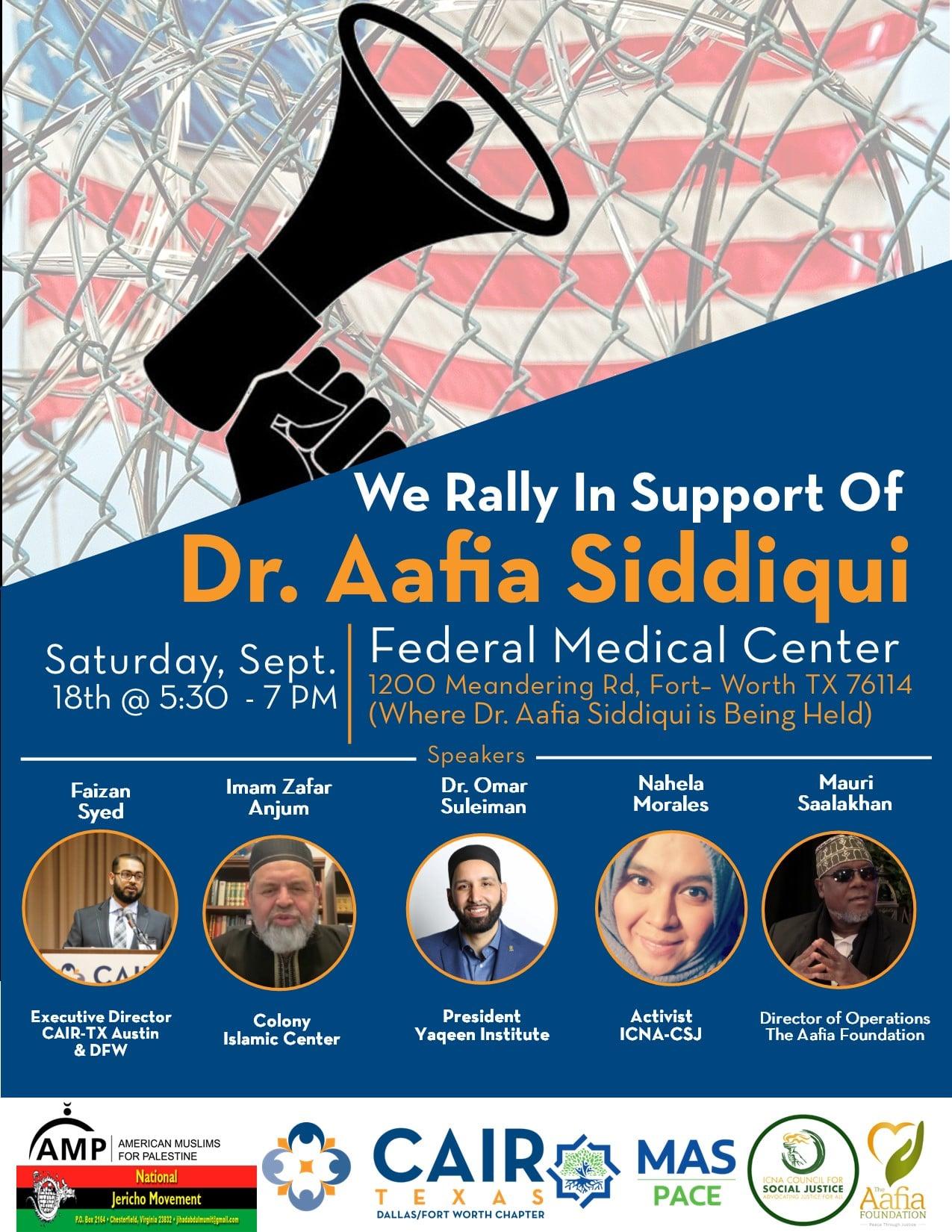[Sep 18, 2021; FMC Carswell; Fort Worth, TX] Free Aafia Mobilization